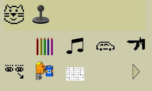 Screenshot des Spielebereichs von Peepo, die verschiedene Symbole, wie unter anderem farbige Stifte, Musiknoten und ein Auto zeigt.