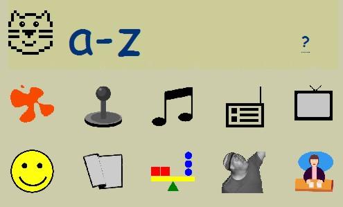 Screenshot der Homepage von Peepo, die verschiedene Symbole, wie unter anderem einen Joystick, einen Smiley und einen Fernseher zeigt.